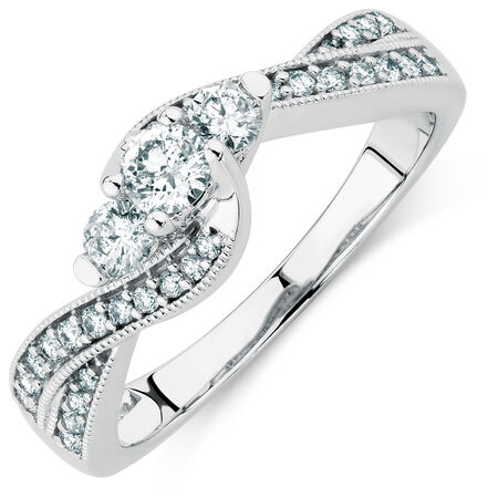 Online Exclusive - Engagement Ring with 1/2 Carat TW of Diamonds in 10ct White Gold