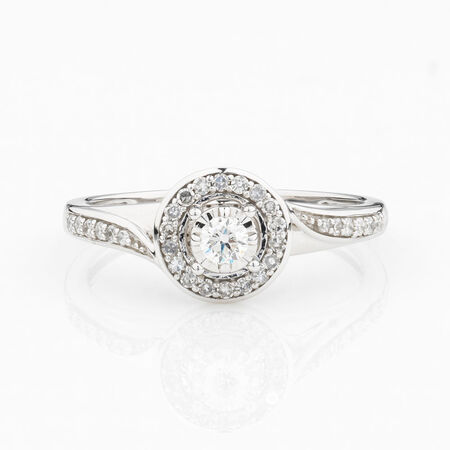 Online Exclusive - Halo Ring with 1/4 Carat Total Weight of Diamonds in 10ct White Gold
