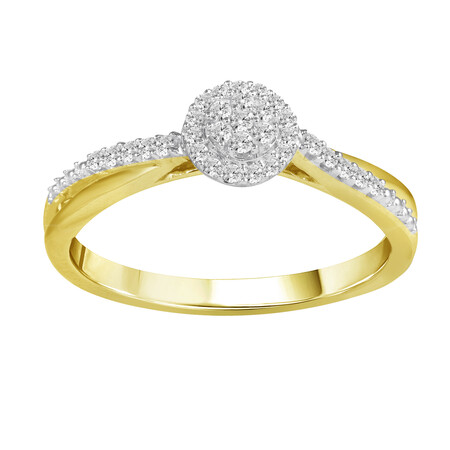 Cluster Ring with 0.15 Carat TW of Diamonds in 10ct Yellow Gold