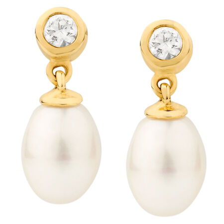 Drop Earrings with Cultured Freshwater Pearl & Cubic Zirconia in 10ct Yellow Gold