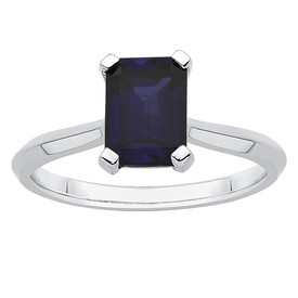 Ring with Created Sapphire in 10ct White Gold