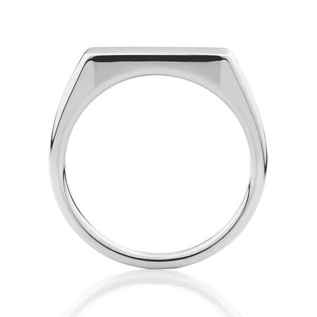 Bar Signet Ring in Sterling Silver
