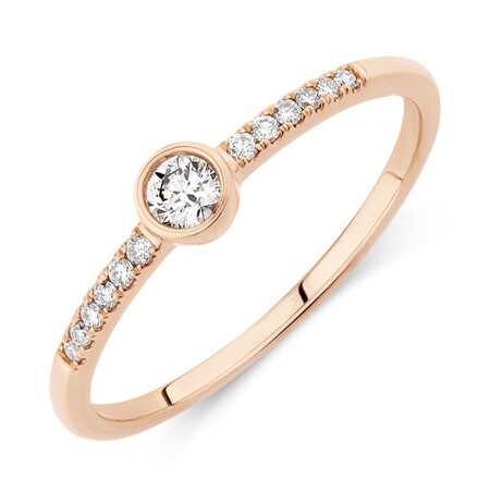 Promise Ring with 0.16 Carat TW of Diamonds in 10ct Rose Gold