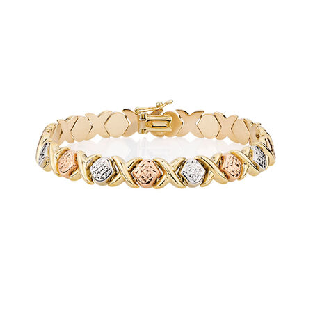 "19cm (7.5"") Bracelet in 10ct Yellow, White & Rose Gold"