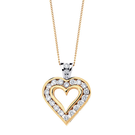 Pendant with 1/2 Carat TW of Diamonds in 10ct Yellow & White Gold