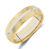 7mm Wedding Band in 10ct Yellow & White Gold