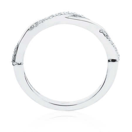 Twist Stacker Ring with Cubic Zirconia in Sterling Silver