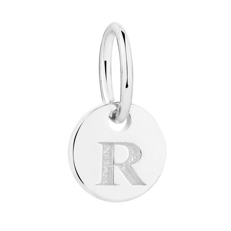 """R"" Initial Mini Pendant in Sterling Silver"