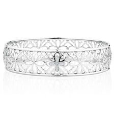 Bangle with Diamonds in Sterling Silver