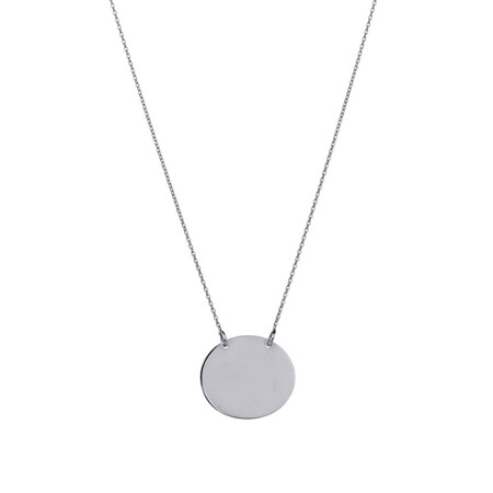 Oval Disc Necklace in 10ct White Gold