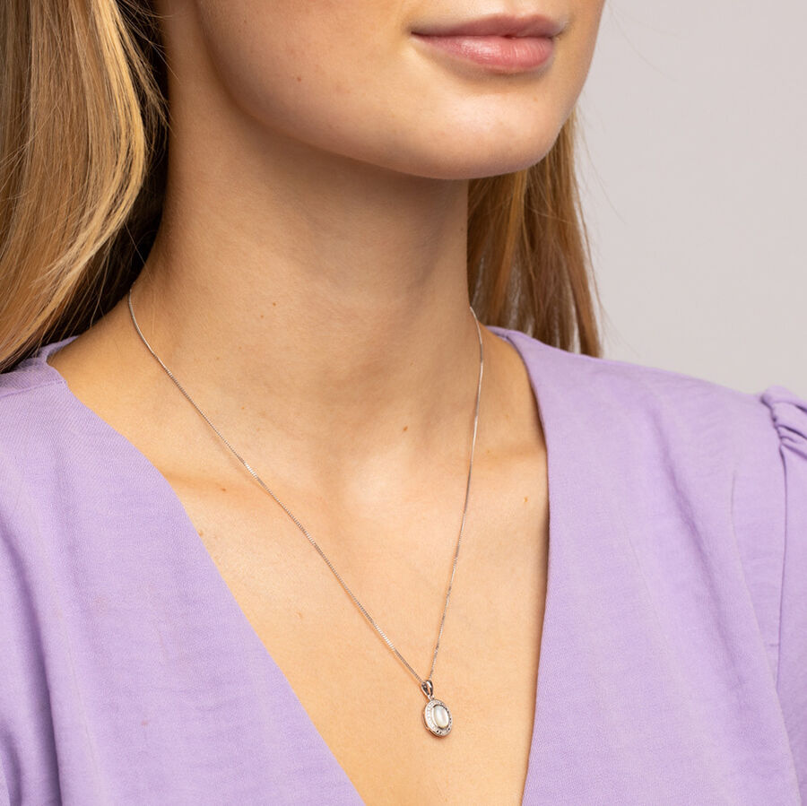 Pendant with Mother of Pearl and 0.04 Carat TW of Diamonds in Sterling Silver