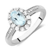 Ring with Aquamarine & Created White Sapphires in Sterling Silver