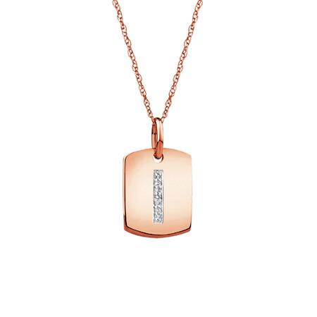 """I"" Initial Rectangular Pendant With Diamonds In 10ct Rose Gold"