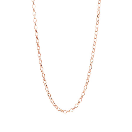"""50cm (20"""") Hollow Oval Belcher Chain in 10ct Rose Gold"""