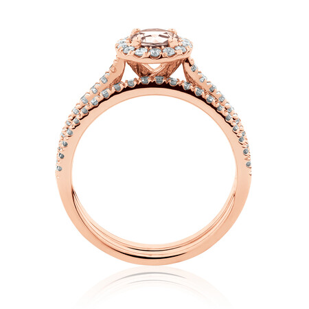 Evermore Bridal Set with Morganite & 0.54 Carat TW of Diamonds in 14ct Rose Gold