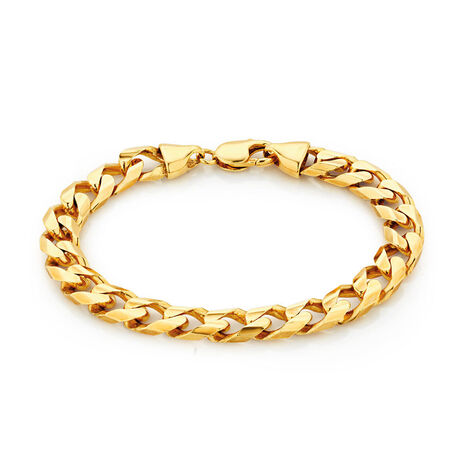 "23cm (9.5"") Men's Curb Bracelet in 10ct Yellow Gold"