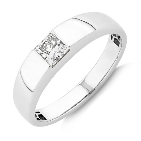 Laboratory-Created 0.50 Carat Men's Ring in 14ct White Gold