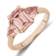 Three Stone Ring with Created Peach Sapphire in 10ct Rose Gold