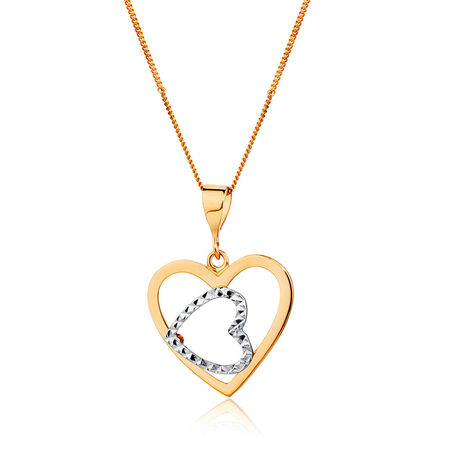 Heart Pendant in 10ct White & Rose Gold
