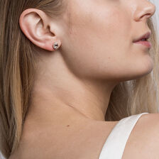 Stud Earrings with Morganite & 0.12 Carat TW of Diamonds in 10ct Rose Gold