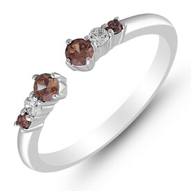 Ring with 0.25 Carat TW of White & Brown Diamonds in 10ct White Gold