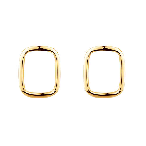 Open Rectangle Stud Earrings in 10ct Yellow Gold