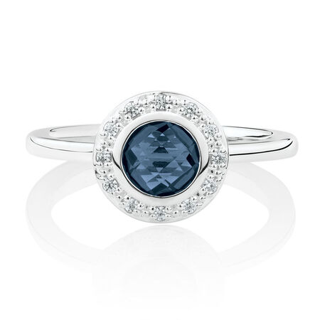 Ring with Dark Blue Crystal & Cubic Zirconia in Sterling Silver