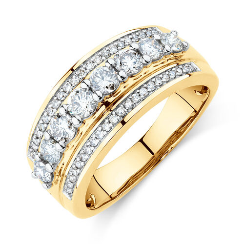 650f2e3a180 Three Row Ring with 1 Carat TW of Diamonds in 10ct Yellow Gold