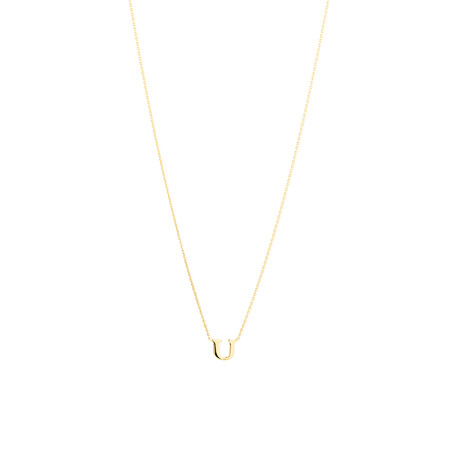 """U"" Initial Necklace in 10ct Yellow Gold"