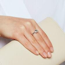 Ring with Aquamarine & Diamonds in 10ct White Gold
