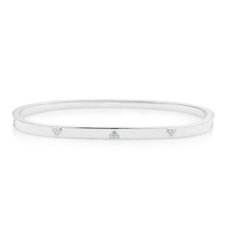 Bangle with White Enamel in Sterling Silver