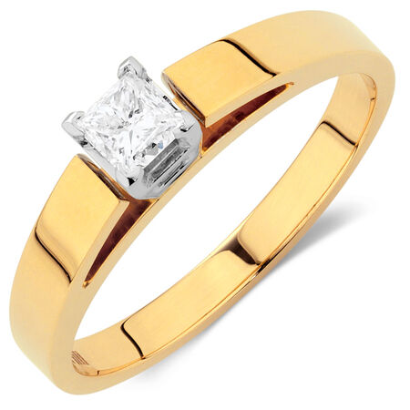 Solitaire Engagement Ring with a 0.34 Carat Diamond in 14ct Yellow & White Gold