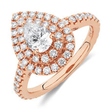 Sir Michael Hill Designer GrandArpeggio Engagement Ring with 1.21 Carat TW of Diamonds in 14ct Rose Gold