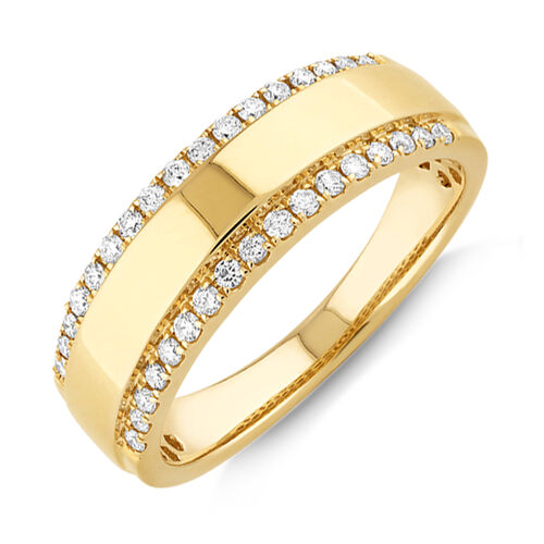 Two Row Ring with 0.37 TW of Diamonds In 10ct Yellow Gold