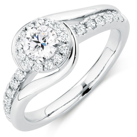 Ideal Cut Engagement Ring with 3/4 Carat TW of Diamonds in 14ct White Gold