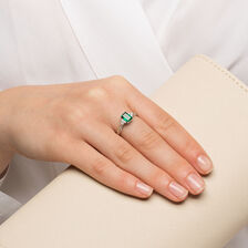 Ring with Created Emerald & 1/4 Carat TW of Diamonds in 10ct Yellow & White Gold