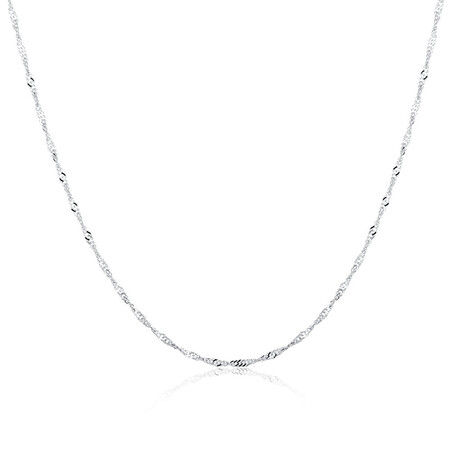 """50cm (20"""") Hollow Singapore Chain in 10ct White Gold"""