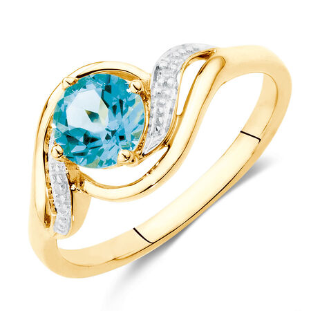 Ring with Blue Topaz & Diamonds in 10ct Yellow & White Gold