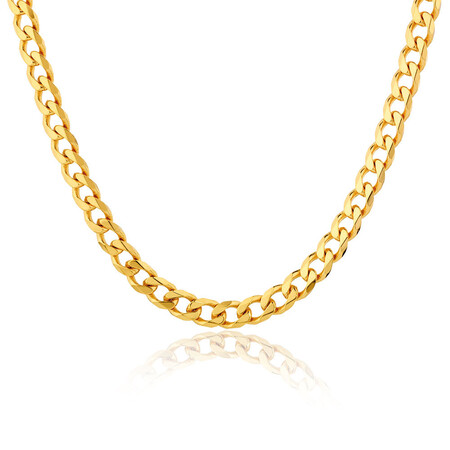 "60cm (24"") Solid Curb Chain in 10ct Yellow Gold"