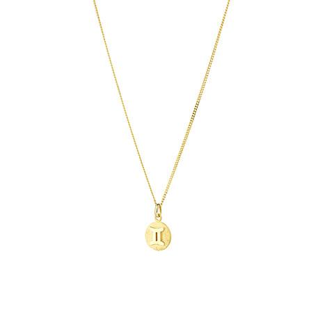 Gemini Zodiac Pendant in 10ct Yellow Gold