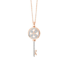 Key Pendant With 0.11 Carat TW Of Diamonds In 10ct White Gold