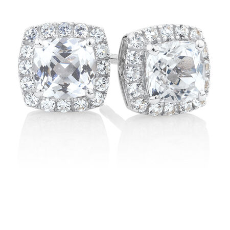 Stud Earrings with Created White Sapphire in Sterling Silver