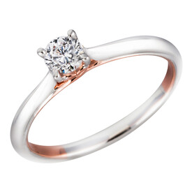 Solitare Ring with 0.20 Carat TW of Diamonds in 10ct White & Rose Gold
