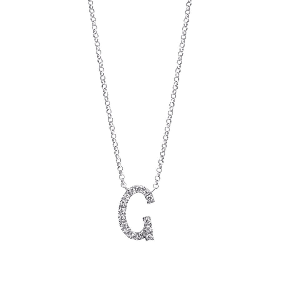 """""""G"""" Initial necklace with 0.10 Carat TW of Diamonds in 10ct White Gold"""