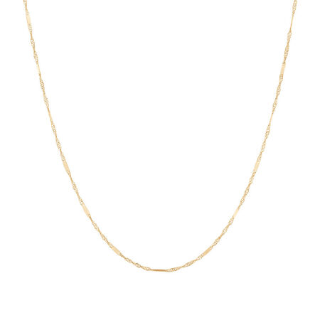 "40cm (16"") Singapore Chain in 10ct Yellow Gold"