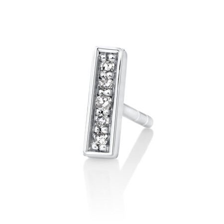 Men's Bar Stud Earring with Diamonds in 10ct White Gold