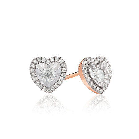Heart Earrings With 0.24 Carat TW Of Diamonds In 10ct Rose Gold