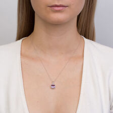 Pendant with Amethyst & Diamonds in 10ct White Gold