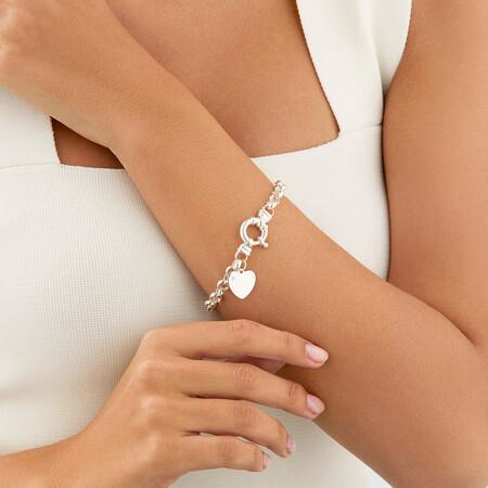 Diamond Set Belcher Bracelet in Sterling Silver