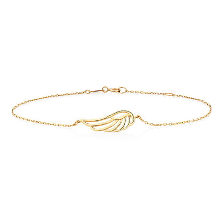 "19cm (7.5"") Angel Wing Bracelet in 10ct Yellow Gold"